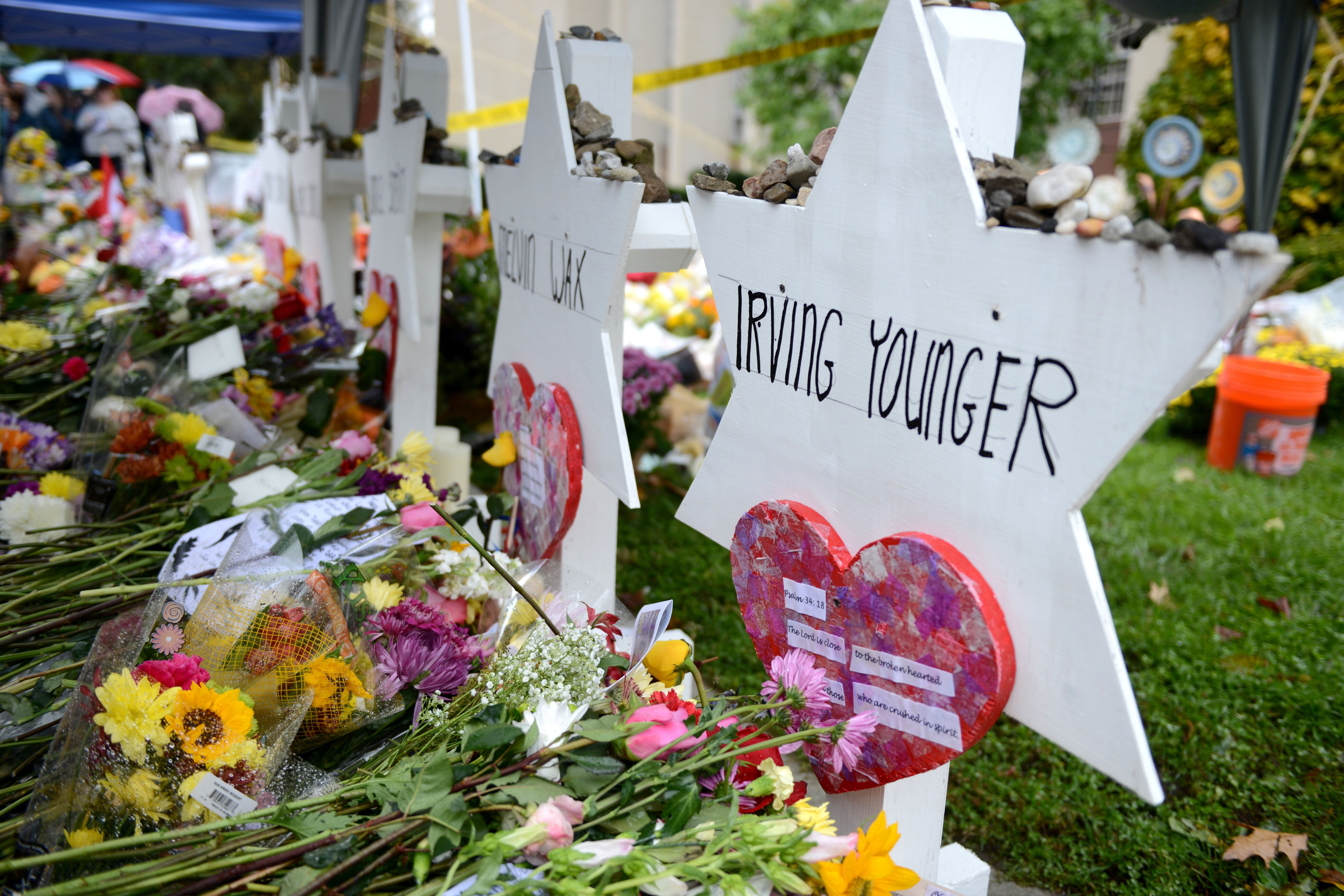 Memorials outside the Tree of Life synagogue in Pittsburgh on Nov. 3, 2018.