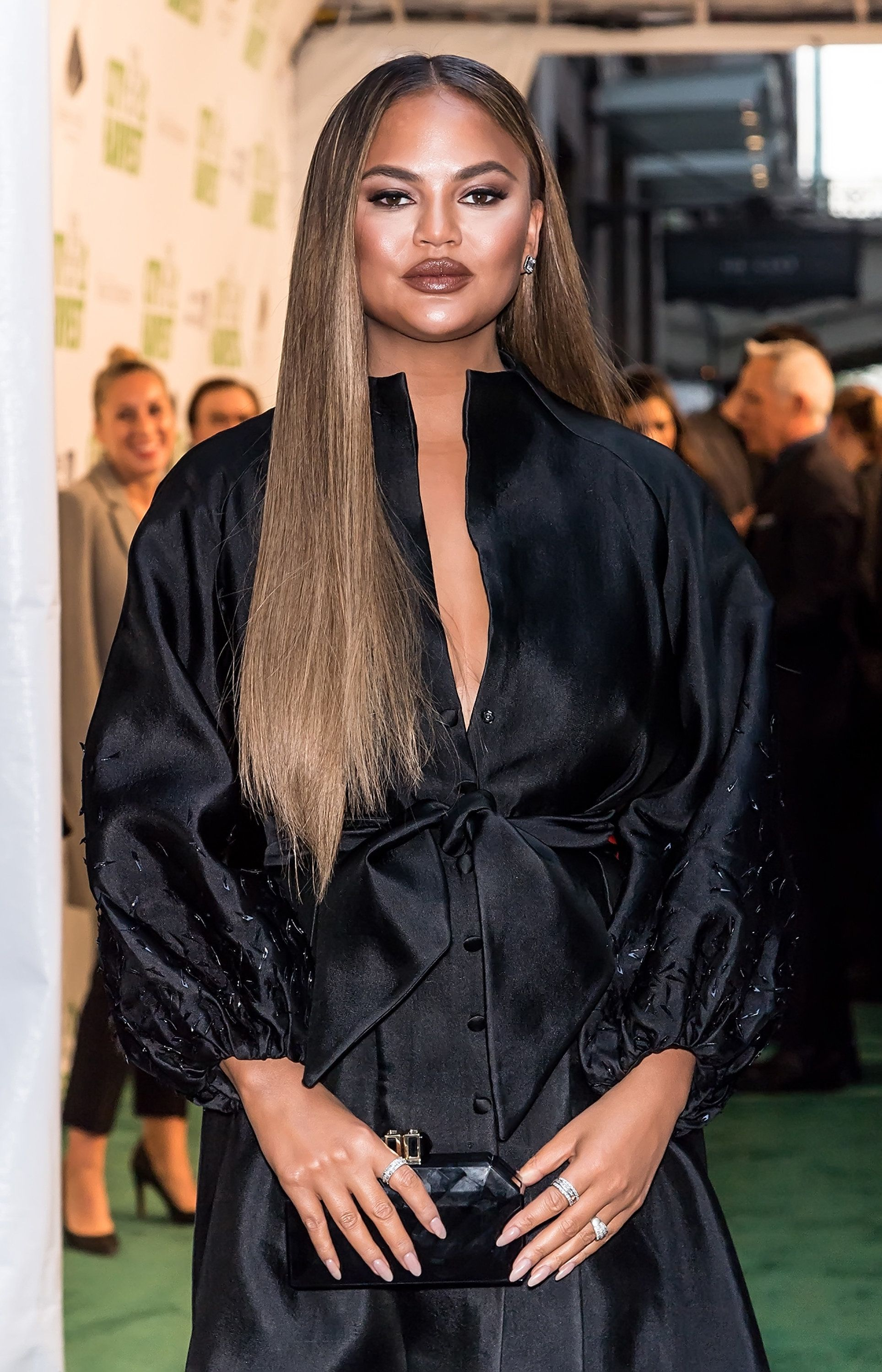 NEW YORK, NY - APRIL 30:  Model Chrissy Teigen is seen arriving to City Harvest: The 2019 Gala at Cipriani 42nd Street on April 30, 2019 in New York City.  (Photo by Gilbert Carrasquillo/GC Images)