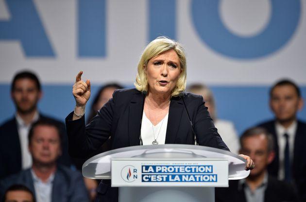 Marine Le Pen lors d'un meeting à Metz le 1er mai