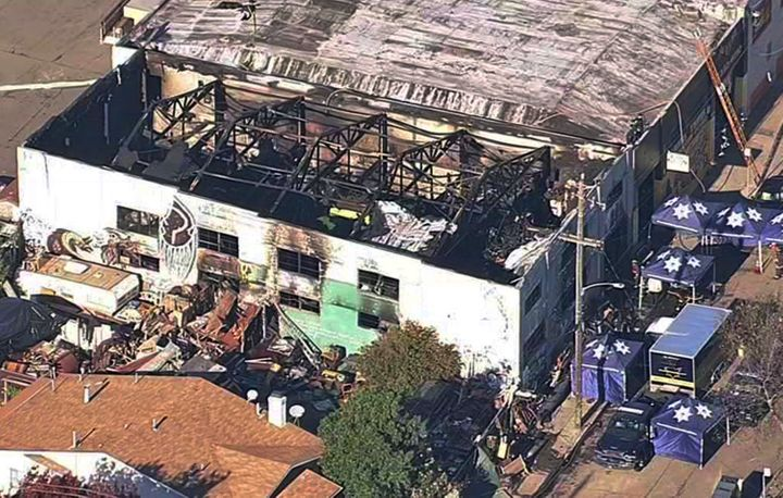 A Dec. 3, 2016, image shows the Ghost Ship warehouse after a fire swept through the building in Oakland, California.