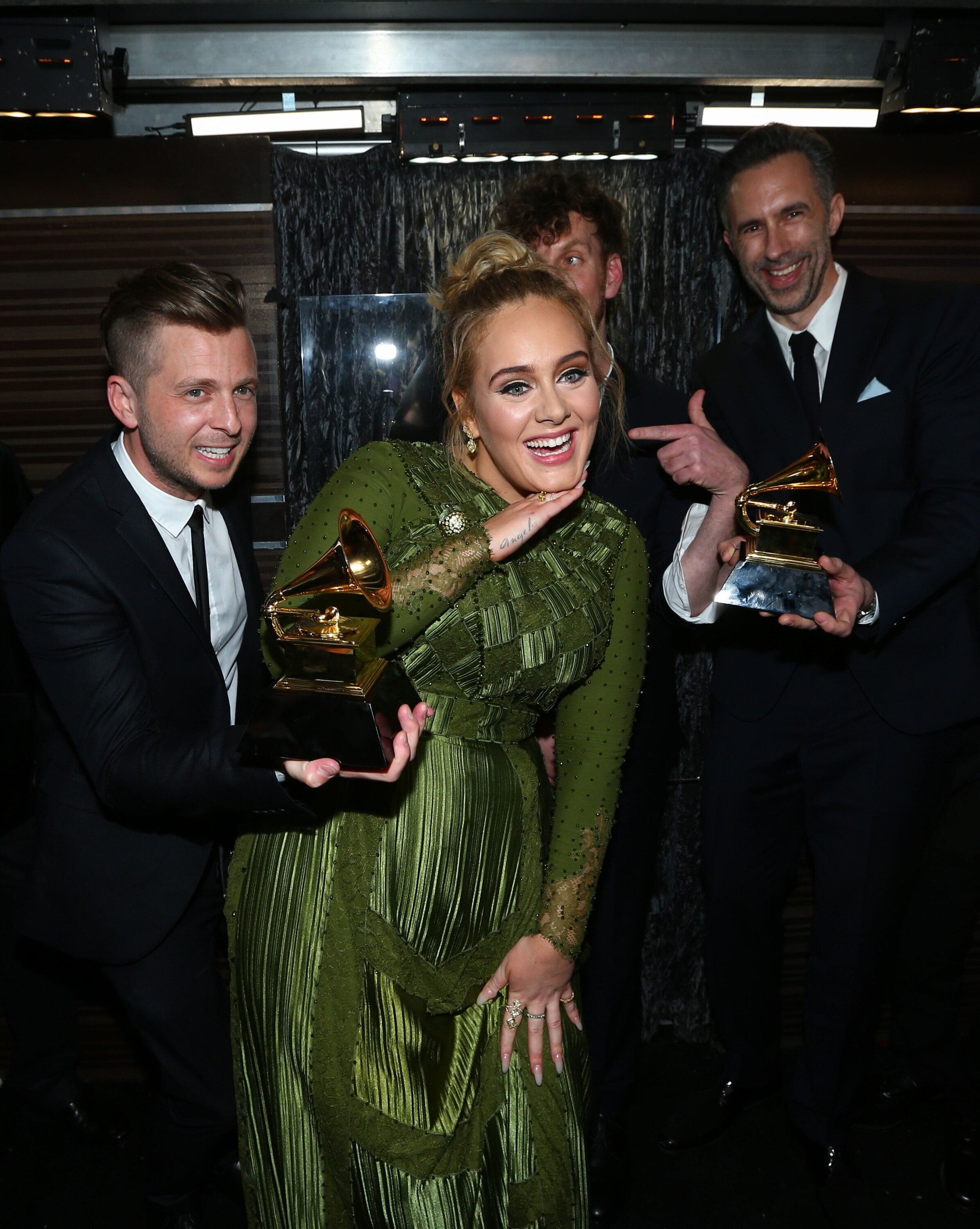 LOS ANGELES - FEBRUARY 12: Adele, winner of Record of the Year, backstage at THE 59TH ANNUAL GRAMMY AWARDS, broadcast live from the STAPLES Center in Los Angeles, Sunday, Feb. 12 (8:00-11:30 PM, live ET/5:00-8:30 PM, live PT; 6:00-9:30 PM, live MT) on the CBS Television Network.   (Photo by Mark Davis/CBS via Getty Images)