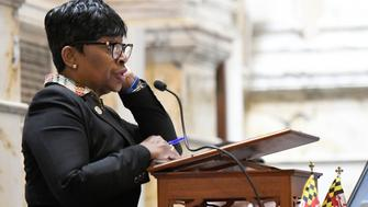 Speaker Pro Tem Adrienne Jones, D-Baltimore County, addresses the Maryland House of Delegates in Annapolis, Md., Monday, April 8, 2019, the final day of the state's 2019 legislative session. Michael Busch, the longest-serving Maryland House speaker, died Sunday, April 7. (AP Photo/Steve Ruark)
