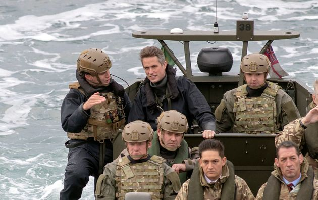 Williamson in position as Royal Marines prepare to raid a ship during an exercise last