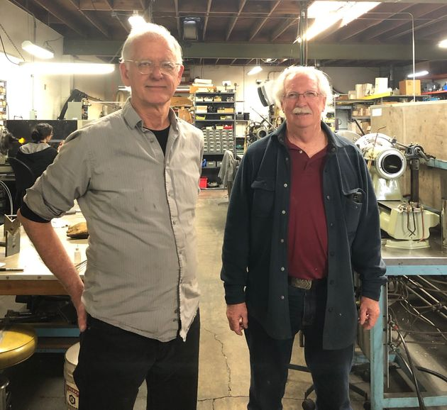 George Chittenden (left) and Tom Adams (right) in the West Berkeley space where their business is