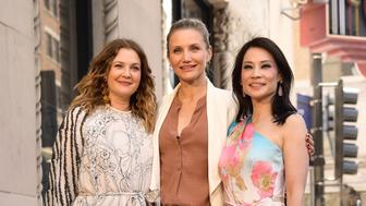 HOLLYWOOD, CALIFORNIA - MAY 01: (L-R) Drew Barrymore, Cameron Diaz and Lucy Liu attend a ceremony honoring Liu with a star on the Hollywood Walk Of Fame on May 1, 2019 in Hollywood, California. (Photo by Matt Winkelmeyer/Getty Images)