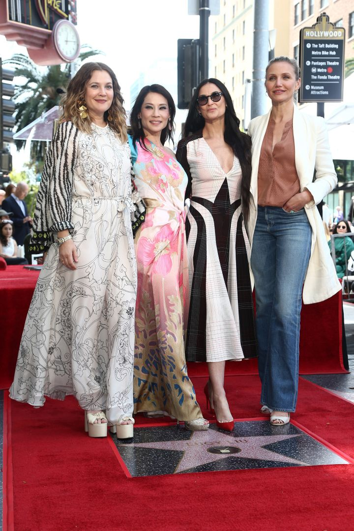 Drew Barrymore, Lucy Liu, Demi Moore and Cameron Diaz appear at Liu's Hollywood Walk of Fame ceremony on Wednesday.