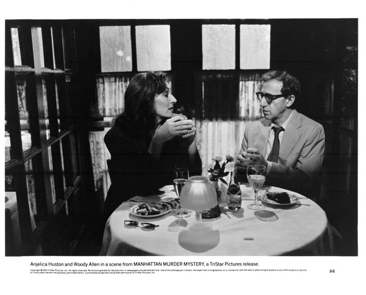 """Anjelica Huston and Woody Allen worked together on """"Manhattan Murder Mystery"""" (above) and """"Crimes and Misdemeanors."""""""