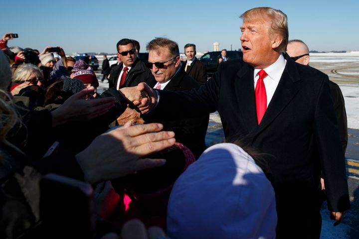 President Donald Trump greets supporters in Pittsburgh in January 2018. Trump's promises to reverse trade-related job losses