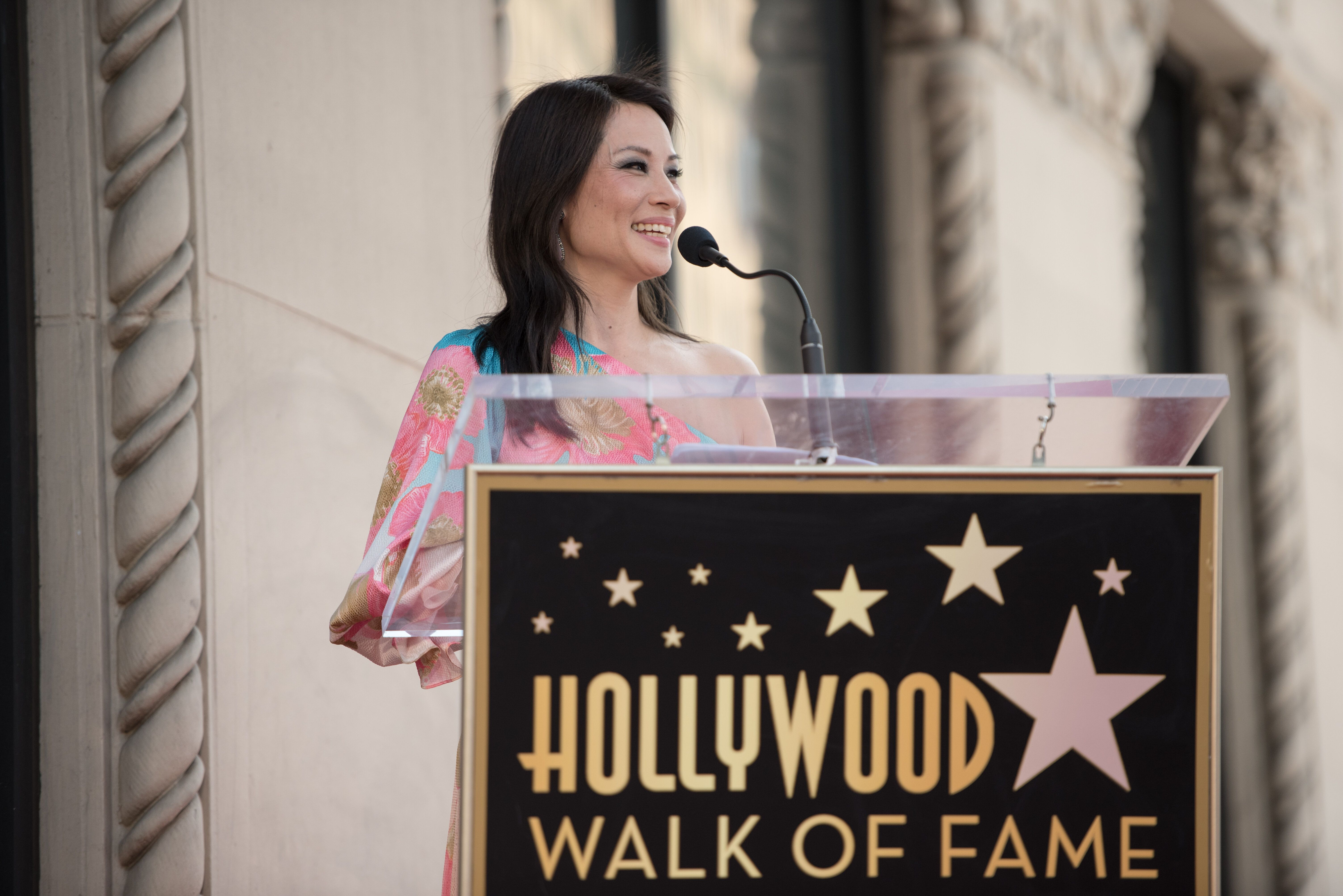 HOLLYWOOD, CALIFORNIA - MAY 01: Lucy Liu at Lucy Liu's Hollywood Walk of Fame star ceremony on May 01, 2019 in Hollywood, California. (Photo by Morgan Lieberman/FilmMagic)