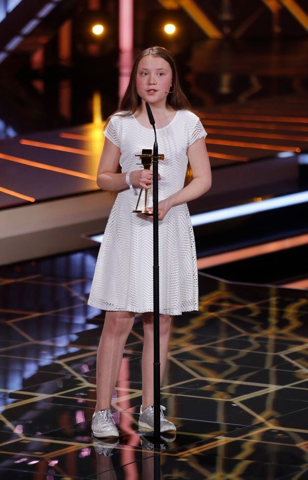 Swedish environmental activist Greta Thunberg receives the Special Climate Protection Award during the...