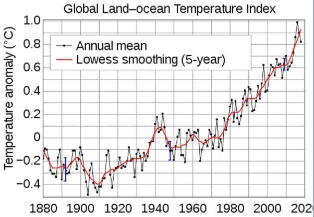 Variazioni della temperatura media della superficie della Terra (terre emerse e mare) misurate negli...