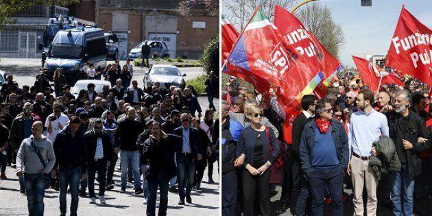 La manifestazione di CasaPound - La manifestazione di Cgil, Anpi, Arci e altre