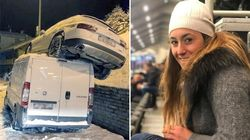 Sofia Goggia frena per evitare incidente ma l'auto finisce fuori dalla carreggiata e atterra sopra a un