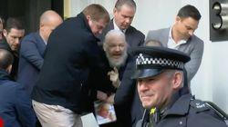 Invecchiato e con la barba lunga: il video di Assange portato via di peso
