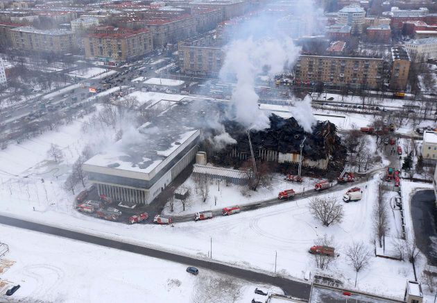 MOSCOW, RUSSIA - FEBRUARY 01 : Firefighters extinguish a fire in the library of the Institute of Scientific...