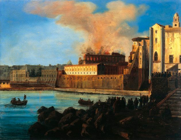 ITALY - AUGUST 06: The burning of the Theatre San Carlo in Naples, February 12, 1816, by Anton Sminck...