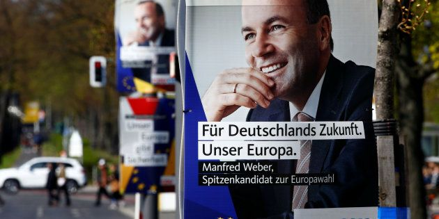 Election campaign posters of Germany's conservative Christian Democratic Union (CDU) party and Christian...