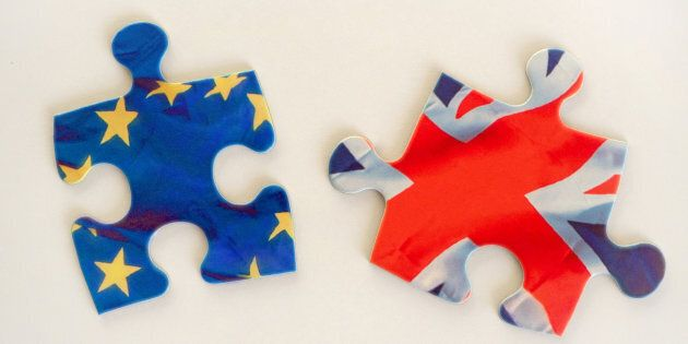 Great Britain and European Union flags. Brexit puzzle
