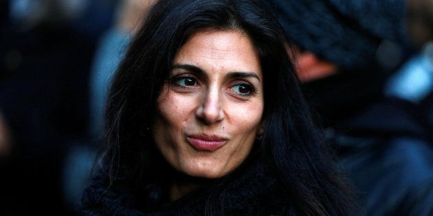 Rome's mayor Virginia Raggi is seen after police confiscated a villa built illegally by an alleged Mafia...