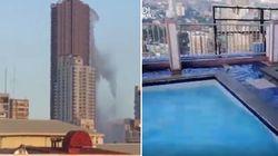 Il terremoto crea l'onda nella piscina: il video dall'interno del grattacielo di