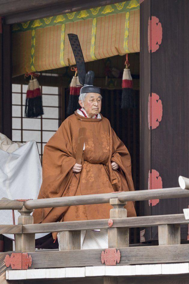 Un momento della cerimonia 'Taiirei Tojitsu Kashikodokoro Omae no