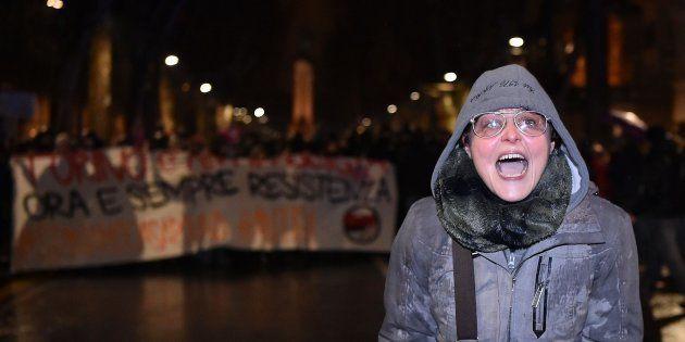 L'insegnante Lavinia Flavia Cassaro durante il corteo antifascista contro CasaPound a Torino, 22 febbraio...
