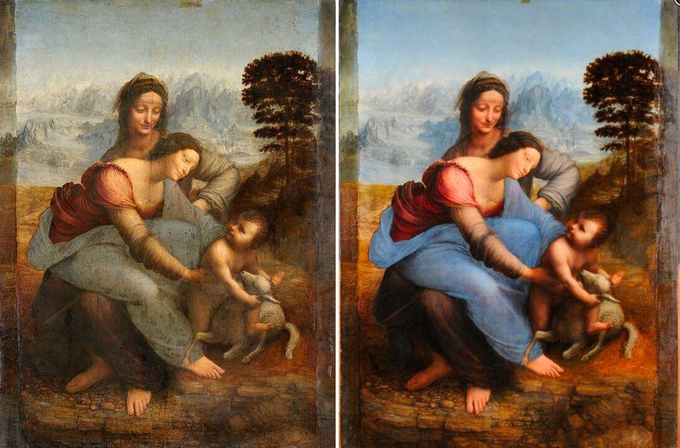 Sant'Anna, la Vergine e il Bambino con l'agnellino prima (a sinistra) e dopo (a destra) il