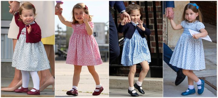 Princess Charlotte, pictured in 2016, 2017 and twice in 2018.