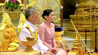 King Maha Vajiralongkorn and his consort, General Suthida Vajiralongkorn named Queen Suthida attend their wedding ceremony in Bangkok, Thailand May 1, 2019, in this screen grab taken from a video. Thai TV Pool  THAILAND OUT. NO COMMERCIAL OR EDITORIAL SALES IN THAILAND.