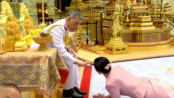 King Maha Vajiralongkorn and his consort, General Suthida Vajiralongkorn named Queen Suthida, attend their wedding ceremony i
