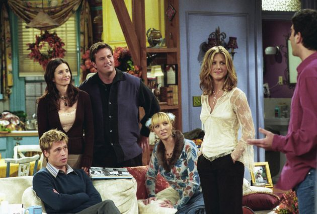 Brad Pitt and the cast of Friends in The One With The