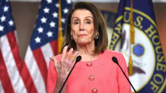 Speaker of the House Nancy Pelosi speaks during her weekly press conference on Capitol Hill in Washington, DC, on May 2, 2019. (Photo by Jim WATSON / AFP)        (Photo credit should read JIM WATSON/AFP/Getty Images)