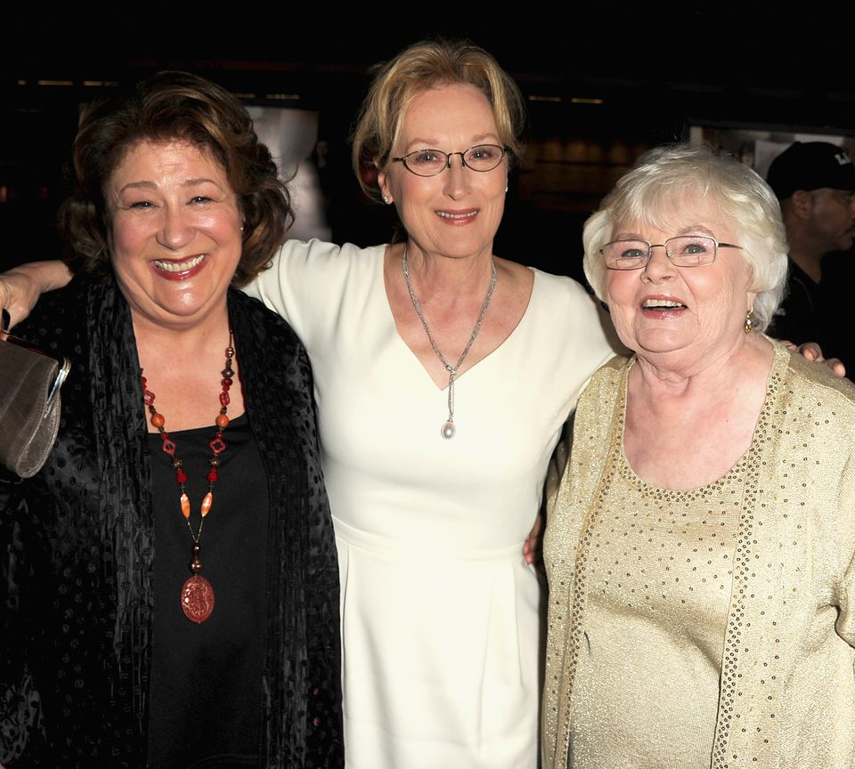 Margo Martindale, Meryl Streep and June Squibb attend the premiere of