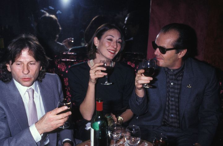 Roman Polanski, Anjelica Huston and Jack Nicholson at a party in Paris in 1984.