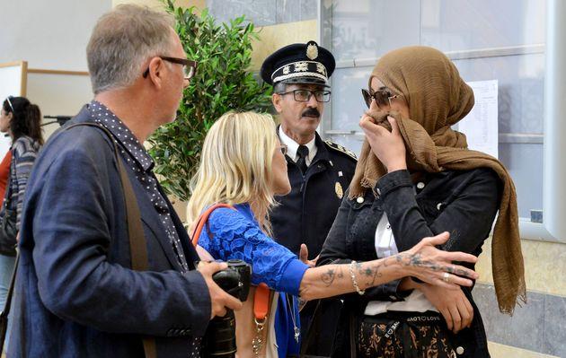 De droite à gauche, la femme et la mère de l'accusé hispano-suisse Kevin Z.G, le...