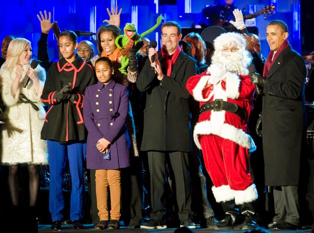 Ellie on stage at the 2011 Christmas tree lighting ceremony, with the Obama family,Carson Daly,...