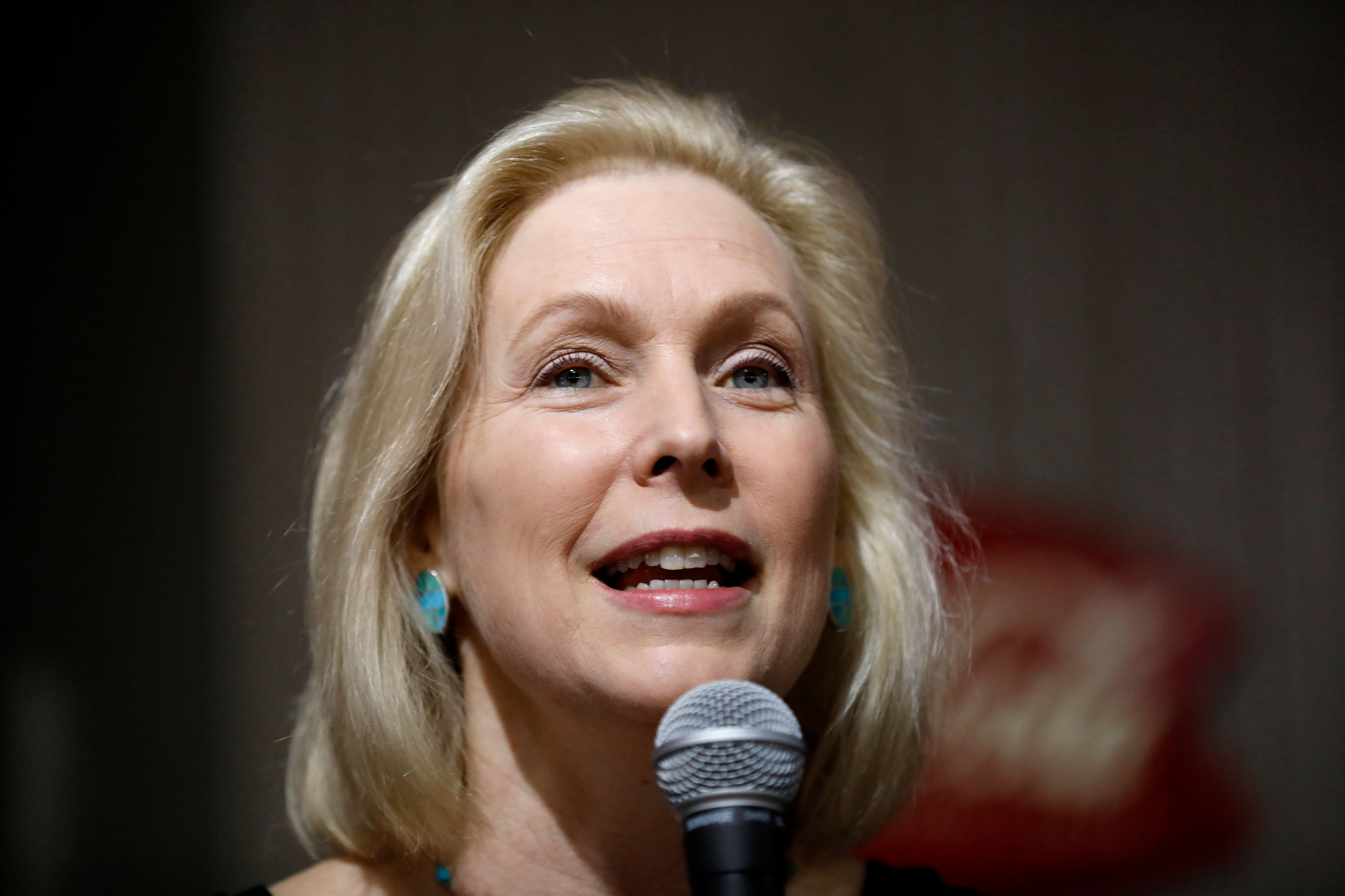 2020 Democratic presidential candidate Sen. Kirsten Gillibrand speaks during a meet and greet with local residents, Thursday, April 18, 2019, in Indianola, Iowa. (AP Photo/Charlie Neibergall)
