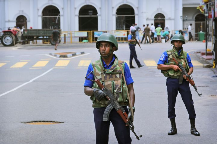 Sri Lankan Naval soldiers stand guard outside St. Anthony's Church in Colombo, Sri Lanka, Monday, April 29, 2019.