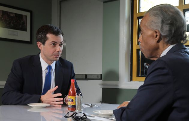 Buttigieg went to Harlem and had lunch with civil rights leader Rev. Al Sharpton to talk about criminal...