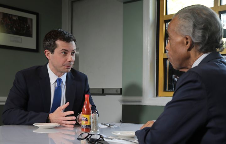Buttigieg went to Harlem and had lunch with civil rights leader Rev. Al Sharpton to talk about criminal justice issues and homophobia within the faith community.