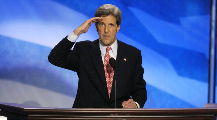 """I'm John Kerry, reporting for duty,"" the 2004 Democratic presidential nominee said at the start of his acceptance speech at"