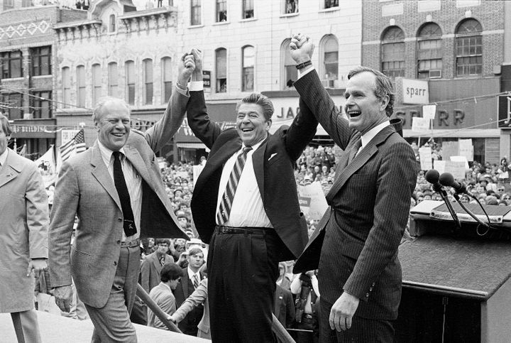 "Ronald Reagan (center) was ""a sure-loser"" in the 1980 election, according to former President Gerald Ford (left)."