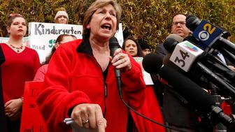 LOS ANGELES, CA - JANUARY 15: Randi Weingarten, left, President of American Federation of Teachers (AFT) speaks in support as UTLA President Alex Caputo Pearl, right, hold a press conference at The Accelerated Schools, a community of public charter schools in South Los Angeles as teachers picket outside the school on second day of the Los Angeles school teachers strike on January 15, 2019 in Los Angeles, California. (Photo by Al Seib / Los Angeles Times via Getty Images)