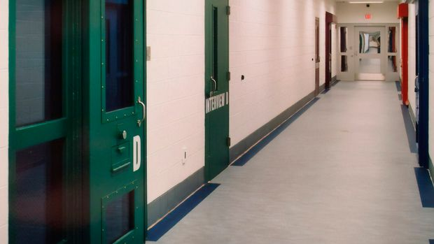 FILE - This undated file photo provided by the Shenandoah Valley Juvenile Center shows part of the interior of the building in Staunton, Va. A lawsuit filed in 2018 alleges that migrant youths at the facility were beaten while handcuffed and locked up for long periods in solitary confinement, left nude and shivering in concrete cells. (Shenandoah Valley Juvenile Center via AP, File)