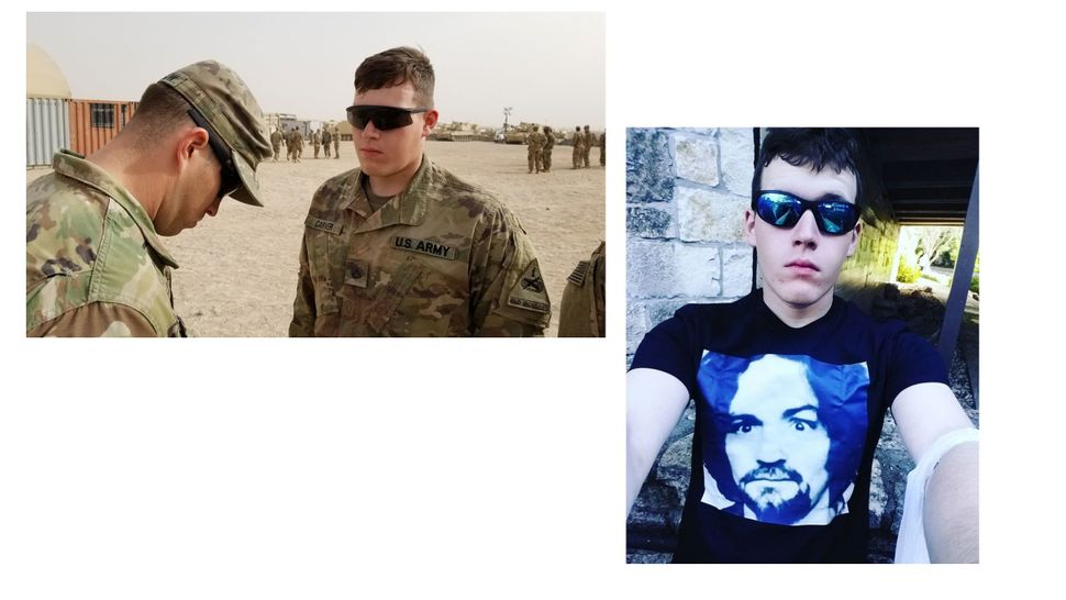 At left, a photo of Corwyn Storm Carver posted to the Facebook account of the 1st Armored Division. On the right, a self
