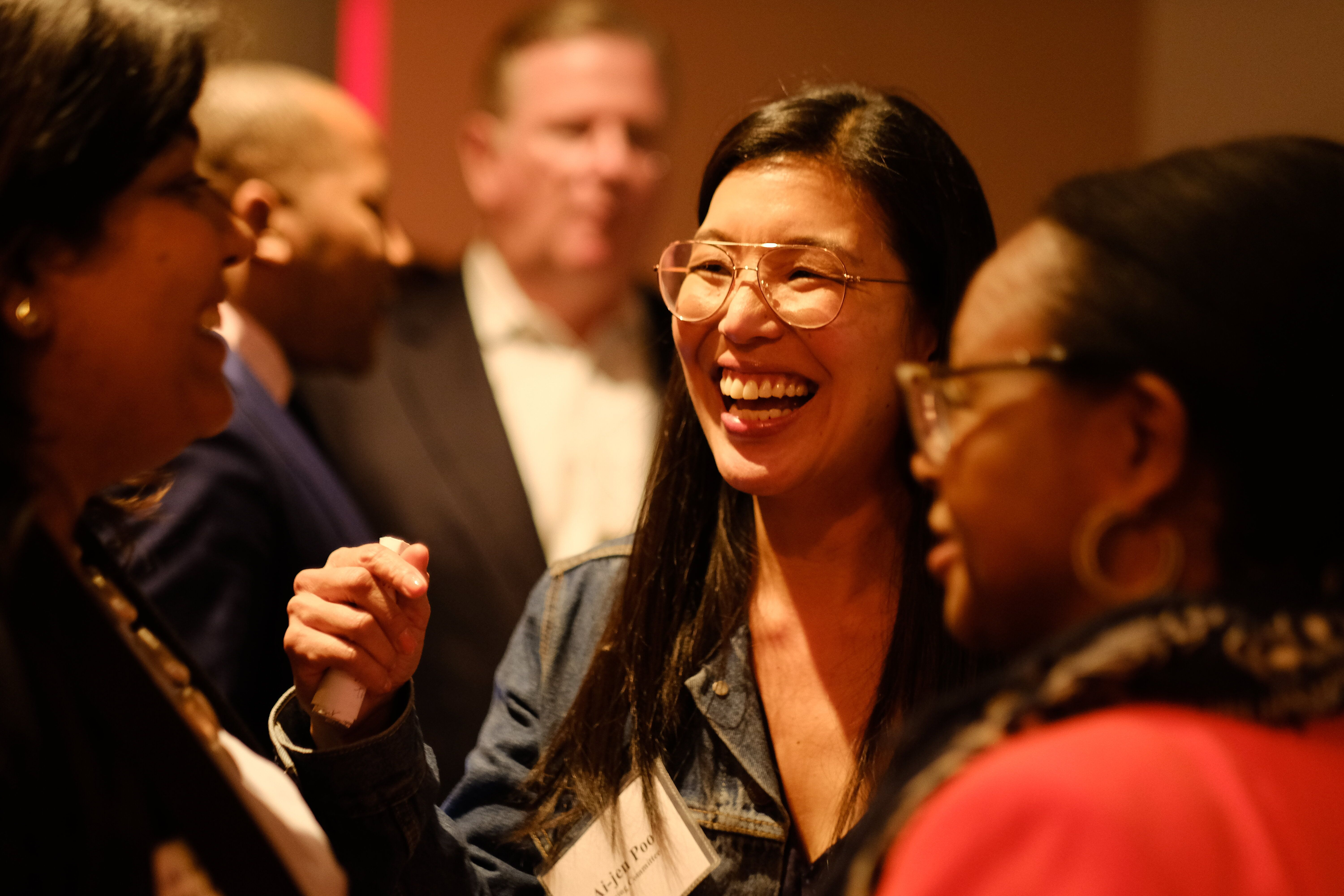 Ai-jen Poo chats at the Supermajority launch party on April 29 in Washington, D.C.
