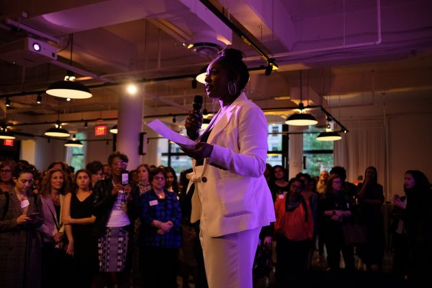Alicia Garza speaks at the Supermajority launch party on April