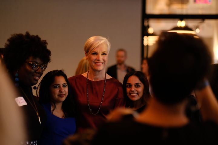 Cecile Richards (center) poses for a photo at the Supermajority launch party.