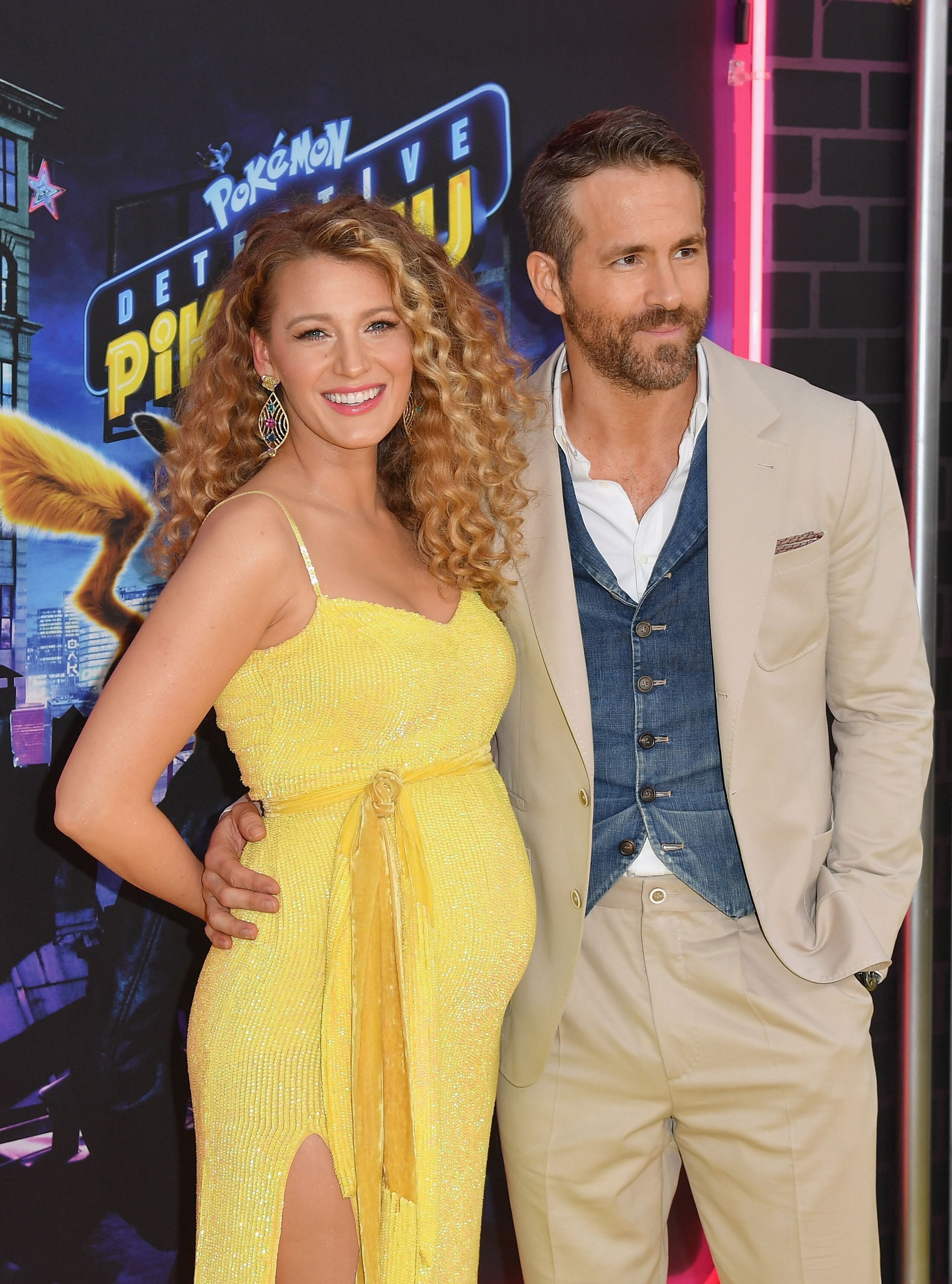 "US actress Blake Lively and husband Canadian actor Ryan Reynolds attend the premiere of ""Pokemon Detective Pikachu"" at Military Island - Times Square on May 02, 2019 in New York City. (Photo by Angela Weiss / AFP)        (Photo credit should read ANGELA WEISS/AFP/Getty Images)"