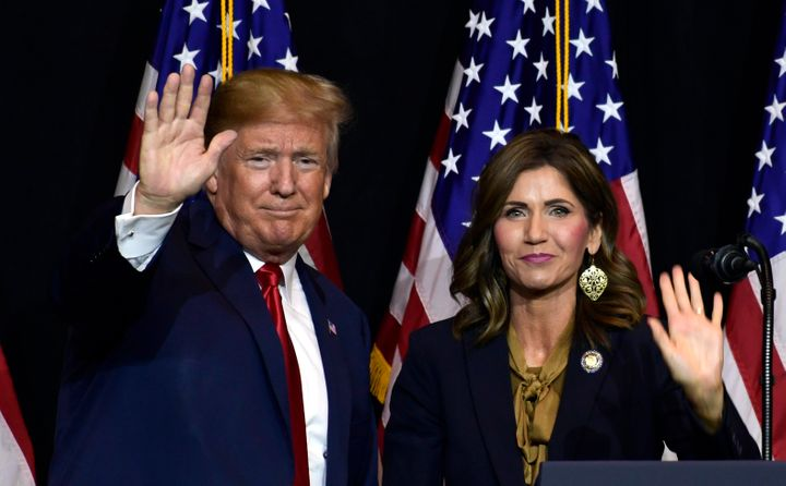 President Donald Trump speaks during a fundraiser for then-Republican gubernatorial hopeful Kristi Noem in Sioux Falls, South
